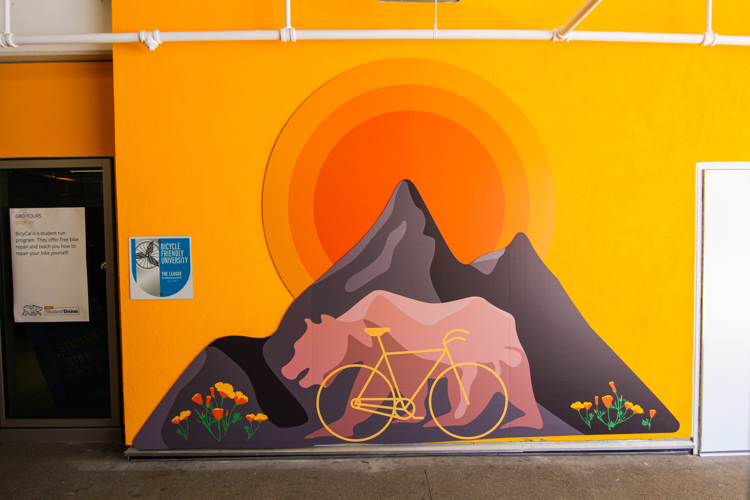 """""""Bicycle Bear"""" is an artwork printed on dibond panels and mounted outside of the ASUC Student Union."""